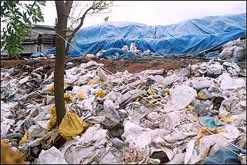 Solid untreated waste material from industries